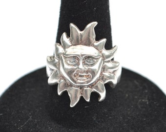 Vintage Sterling Silver 925 Mexico Sun Face Celestial Ring Size 8 (7.1g)