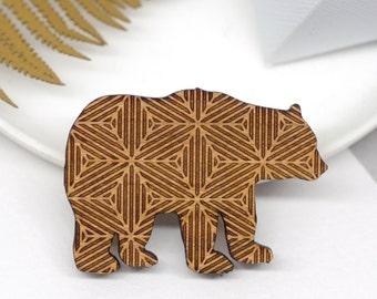 Geometric Bear Brooch, Wooden Bear Pin, Gift For Her, Geometric Jewellery, Wildlife Brooch, Geometric Pin, Animal Brooch, Stylish Bear Pin