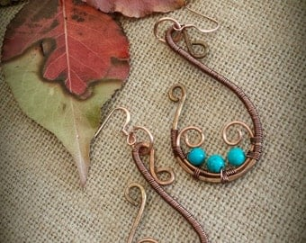 Copper S earrings  turquoise