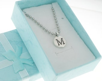 Antique Silver Plated Pewter Initial Charm Necklace.  Initial Necklace. Initial Charm. Initial Jewelry. Letter M Necklace. Letter M charm.