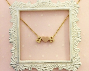 The Darling Necklace - Tiny Initial Pendant Necklace with Heart in Gold, Rose Gold, or Silver with Fine Link Chain