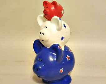 Red White and Blue Stacked Piggy Bank, Americana Piggy Bank, Stacked Piggy Banks, Piggy Banks, Baby Banks