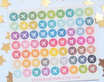 63 Airplane, travel, circle, plane stickers - Perfect for Planners! Glossy Sticker Paper // SD9