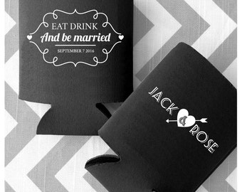 Personalized Wedding Can Coolers - Eat Drink and be Married - Fun, Quirky, & Fresh custom printed coolies with Free Shipping (68)