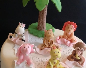 Jungle Baby Shower, Girly Safari Baby Shower, Pink Jungle Cake Topper, Jungle Party Decor, Pink Safari Baby Shower, Girls Safari Birthday