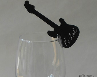 10 GUITAR PLACE CARDS Black Wine Glass Decorations Name Cards Wedding/ Party Electric Rock n Roll Music