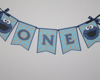 One cookie monster banner, One Cookie monster highchair , Happy birthday banner, Cookie monster birthday
