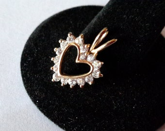 Vintage ~ 925 ~ CZ Diamond ~ Heart Pendant Necklace  ~ Cut out Heart Pendant ~ Gold Tone Overlay ~ Striking