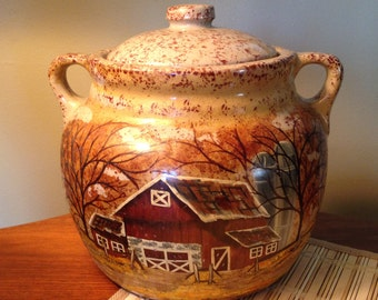 Unique Monmouth Pottery ovenproof bean pot with cover made in the USA