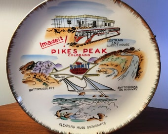 Rare Pikes Peak plate hand painted by Toro for Parksmith made in Japan