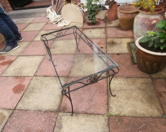 Vintage Wrought Iron & Glass Coffee Table