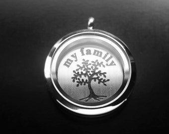 Family Window Plate for Large Floating Lockets-Gift Idea