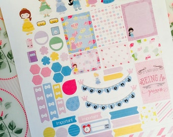 Princess Planner Stickers, Jasmine Tiana Belle Cinderella Rapunzel Elsa Sophia, for use with Erin Condren Life Planner, Happy Planner