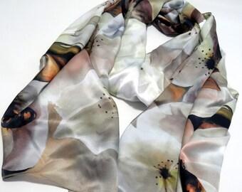 "Sale! For Her, Wedding Shawl, Pear blossom, Bee, Silk Satin Wrap, 22""x90"""
