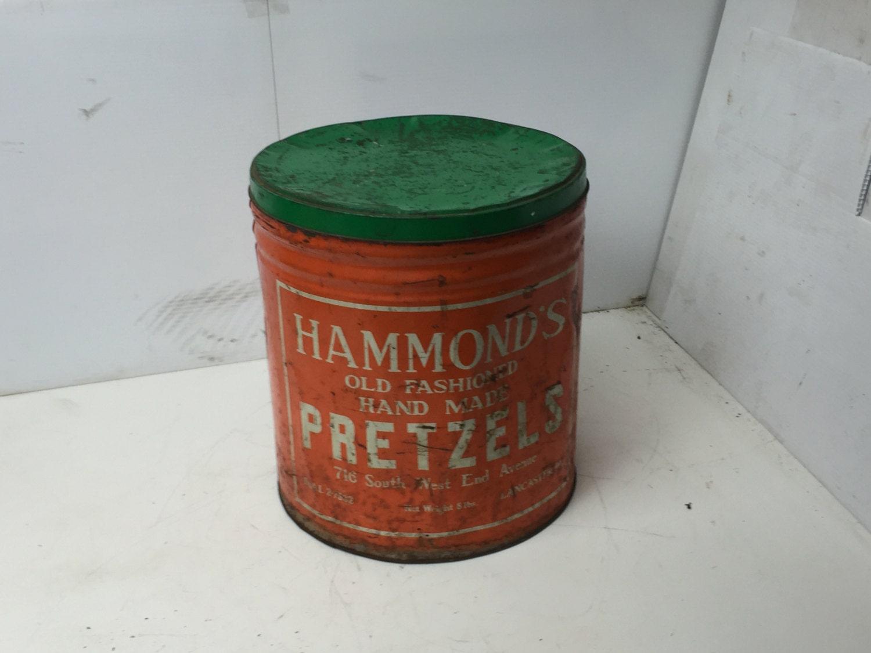 Man Cave Store Lancaster Pa : Vintage hammond s pretzels tin orange pretzel