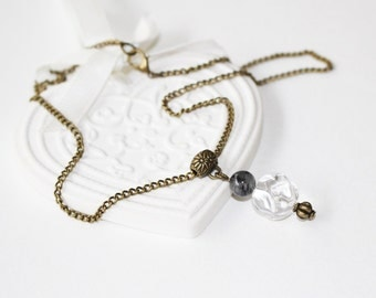 Necklace, pendant rock crystal quartz and tourmaline, protection and harmony