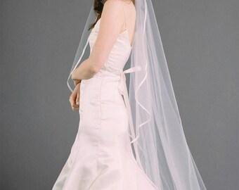 AVA VEIL | drop veil with thin satin ribbon edge, wedding veil, bridal illusion tulle