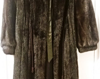 Brown/Black Gorgeous Mink Fur Coat - Vintage