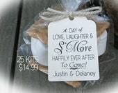NEW! - S'More Wedding Favor Kits-3 TAG Colors | 25-100 DIY Bags/Favor Tags w/Ribbon-S'More Love favors |Smore Love wedding favor