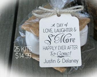 NEW! - Wedding Favor | Wedding Favor Kits - 3 TAG Colors | 25-100 DIY Bags/Favor Tags w/Ribbon-S'More Love favors | Smore Love wedding favor