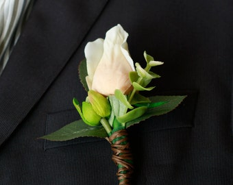 Silk Champagne Rose Boutonniere