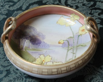Hand-painted Nippon Handled Bowl/Antique Nippon Hand-painted Bowl/Beautiful Nippon Hand-painted Bowl, Antique