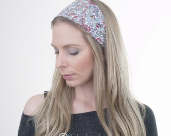 Blue Green Red Floral Hair Wrap, Cotton Headband, Wide Hairband, Boho Turban, Fashion Headband, Vintage, Hair Tie, Yoga