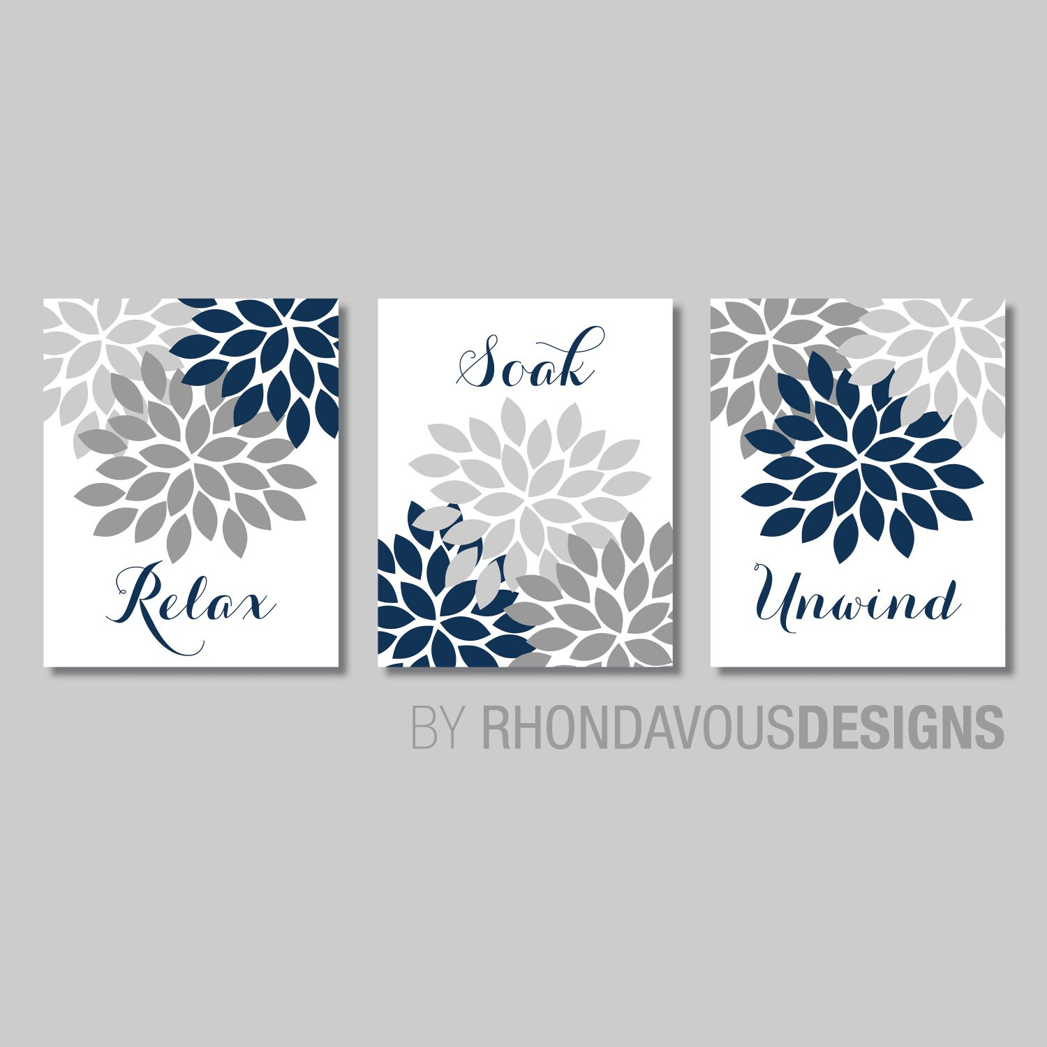 Floral Relax Soak Unwind Print Trio Bathroom Home Decor Wall