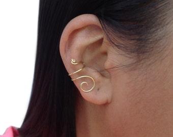 Brass Ear Cuff, Gold No Piercing Cartilage Earring, Wire Simple Earcuff