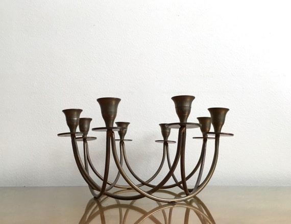Modern Candelabra Centerpieces : Vintage mid century modern round eight arm brass candelabra