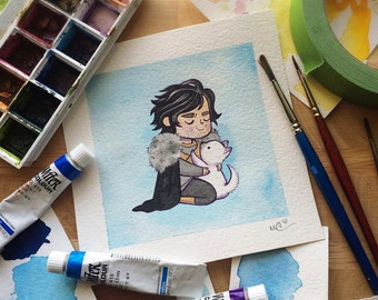 Jon Snow and Ghost Game of Thrones Watercolor Print by Michelle Coffee
