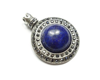 Round Lazuli Gemstone in Silver Plated Saucer Setting GS046