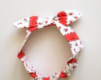 Retro, Rockabilly baby bandana, baby headband, bow, knotted hairband