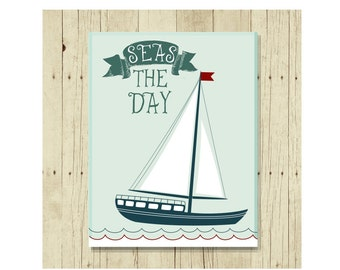 Seas the Day, Sailboat, Refrigerator Magnet, Seize the Day, Funny Pun, Gifts Under 10, Vintage Tea, Small Gift, Sailing Decor, Gift Magnet