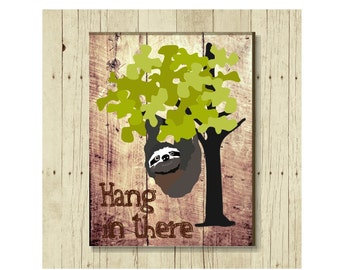 Hang in There Magnet, Sloth Art, Refrigerator Magnet, Cancer Support, Gifts Under 10, Small Gift, Gift for Friend, Get Well Gift