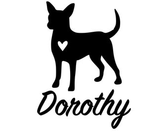 Chihuahua Personalized Vinyl Decal Sticker Pet Car Decal