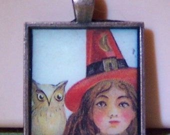 Cute witch and owl vintage Halloween postcard pendant tray bezel necklace keychain wine charm