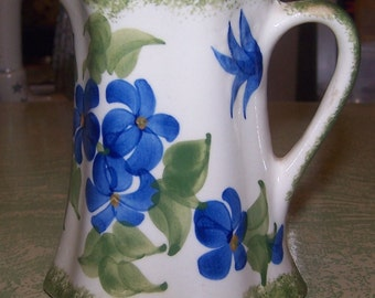 Vintage hand-painted pottery cream pitcher creamer blue floral flowers Made by the Cash Family