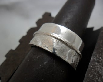 Wide sterling silver ring