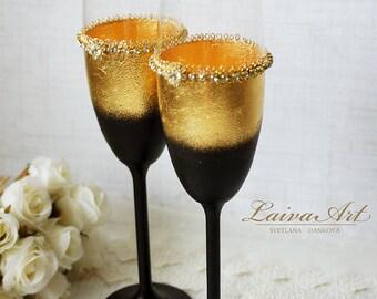 Gold Art Deco Gatsby Style Wedding Champagne Flutes Wedding Champagne Glasses Gatsby Style Wedding Toasting Flutes Gold and Black Wedding