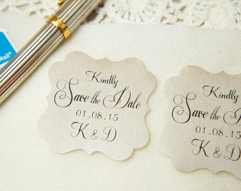 100 Mink Custom Save The Date seals. Personalised printed pearlised wedding stickers, bottle labels, Envelope seals.  Mink Wedding favours