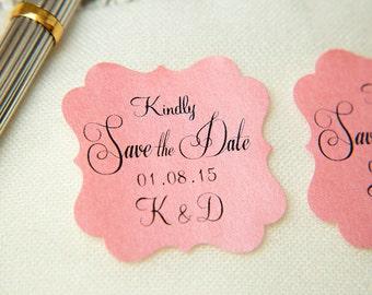 Blush Pink Printed Save The Date seals. Custom printed Wedding stickers. personalised Pearlised Envelope seals. Wedding favours