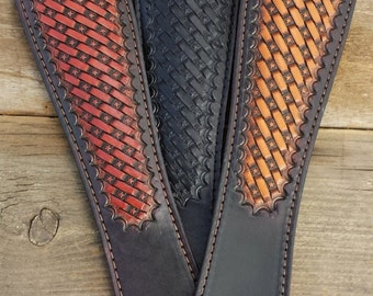 Hand Tooled Leather Rifle Sling Star Basket Weave Pattern choice of Black, British Tan and Light Brown