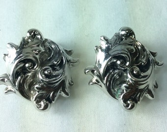Whiting Davis Earrings. Clip On Earrings, Silver-tone Metal