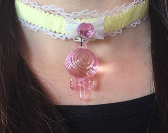 Kawaii Pastel Lolly Pop Gem Lace Bow Lolita Pink and Yellow Choker