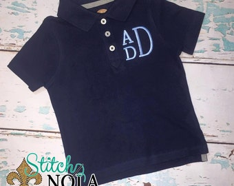 Monogrammed Navy Collared Shirt ONLY
