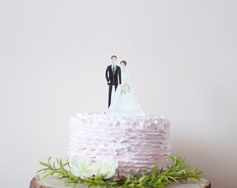Wedding Cake Topper Custom Couple Illustration