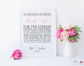 Wedding Thank You Printable. To Our Family and Friends. Thank You Wedding Sign. Thank You Printable. Wedding Printables. Wedding Signs.