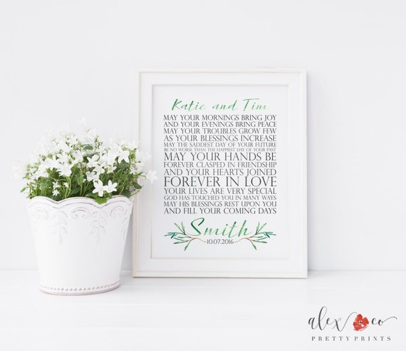 Unique Wedding Gifts Ireland : Personalized Wedding Gift. Printable Wedding Gift. Irish Wedding ...