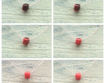 Handmade *colour changing/chameleon* square bead on 18 inch silver plated necklace brown to coral